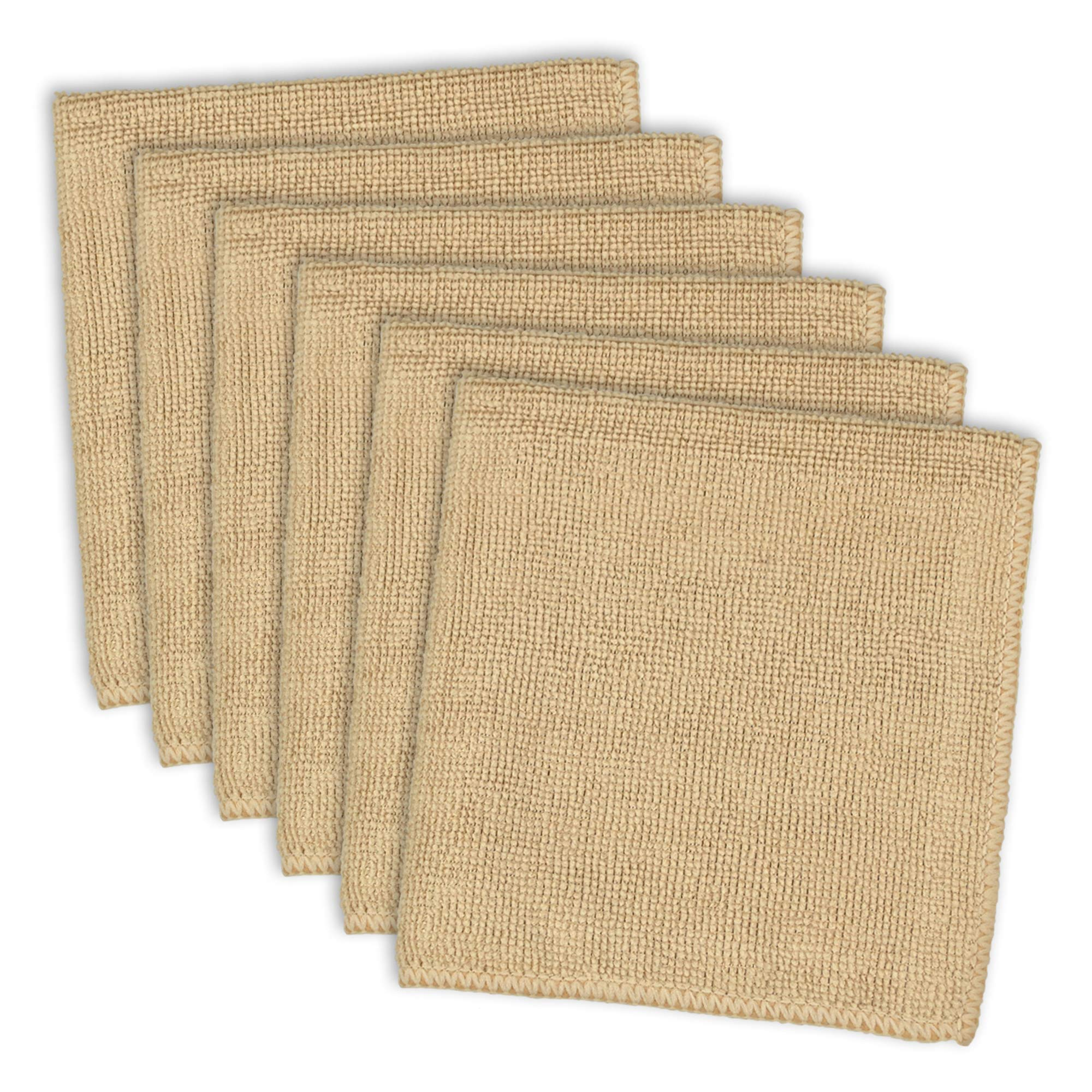 DII Microfiber Multi-Purpose Cleaning Cloths Perfect for Kitchens, Dishes, Car, Dusting, Drying Rags, 12 x 12, Set of 6 - Taupe
