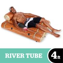 BigMouth Inc. Loungin' Log Raft River Tube - Ultra Durable, Easy-Inflate Vinyl Log Raft with Grab n' Latch Rope and Comfy Mesh Seat, Great for River Rafting and Floating with Friends