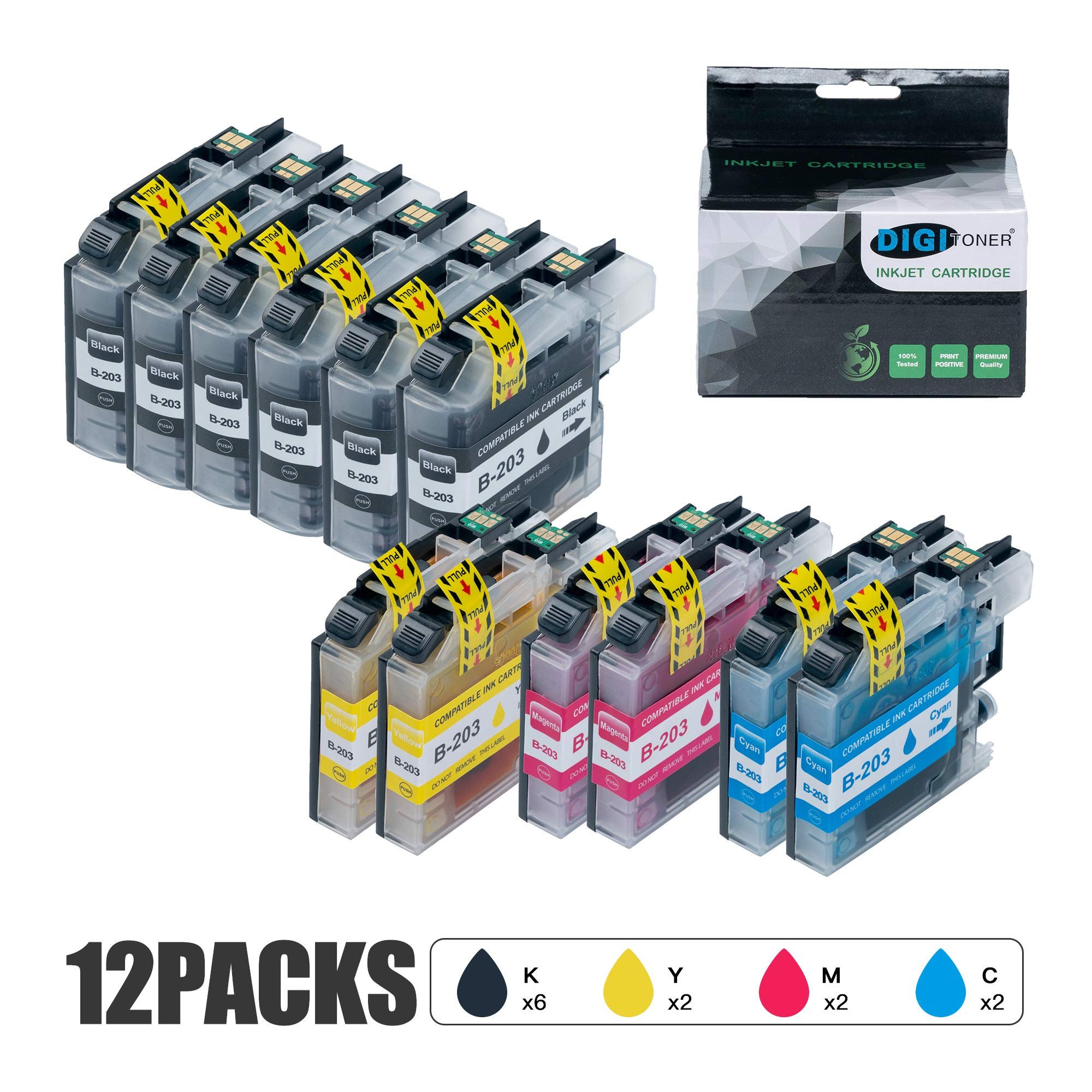 DIGITONER Compatible LC203 Ink Cartridge Replacement for Brother LC203XL LC203 to use with MFC-J480DW MFC-J680DW MFC-J880DWMFC-J485DW MFC-J4620DW MFCJ5720DW [6 Black 2 Cyan 2 Magenta 2 Yellow] 12 Pack