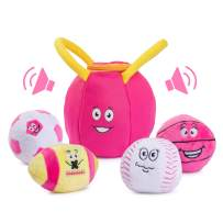 Plush Creations Gym Plush Bag with 4 Talking Soft Plush Balls. Gym Set Includes Plush Gym Bag Plush Basketball Plush Baseball Plush Soccer Ball and Plush Football. Great Baby and Toddler Gift