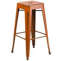 Flash Furniture 30'' High Backless Distressed Orange Metal Indoor-Outdoor Barstool