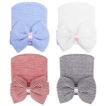 Zando Baby Girls Newborn Hospital Hat Baby Headwraps Cute Big Bows Infant Nursery Caps B White & Blue & Red White & Black White One Size