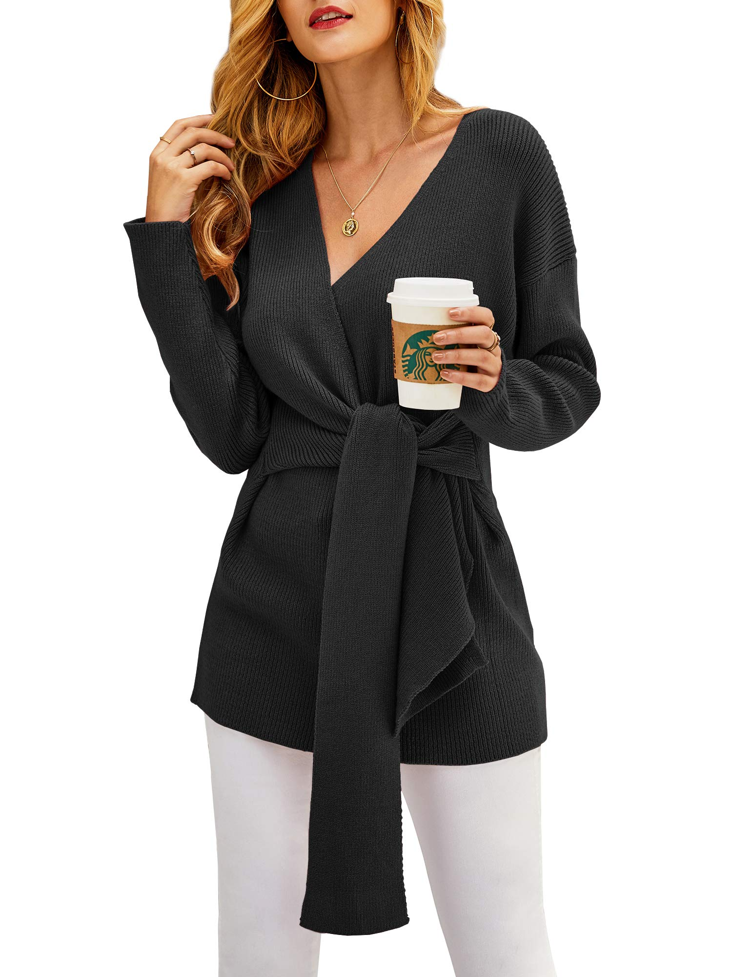 Yacooh Womens Tie Knot Front Wrap Sweater Blouse Knitted Long Sleeve V-Neck Bodycon Tunic Pullover Dress Black