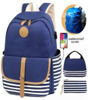 SCIONE School Backpacks for Women Teen Girls with USB Charging Port and Backpack Rain Cover Lightweight Canvas Stripe Backpack Cute Teen Bookpacks Set Bookbags+Insulated Lunch Bag+Pouch 3 in 1