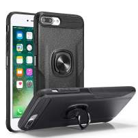 DEFBSC iPhone 6 Plus 6S Plus Phone Case with Ring Kickstand,360 Degree Rotating Ring Kickstand Armor Defender Shockproof Protective Case Cover for iPhone 6 Plus/6S Plus,Black