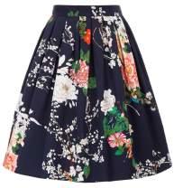 GRACE KARIN Women Vintage Pleated A-line Midi Skirts (Multi-Colored)