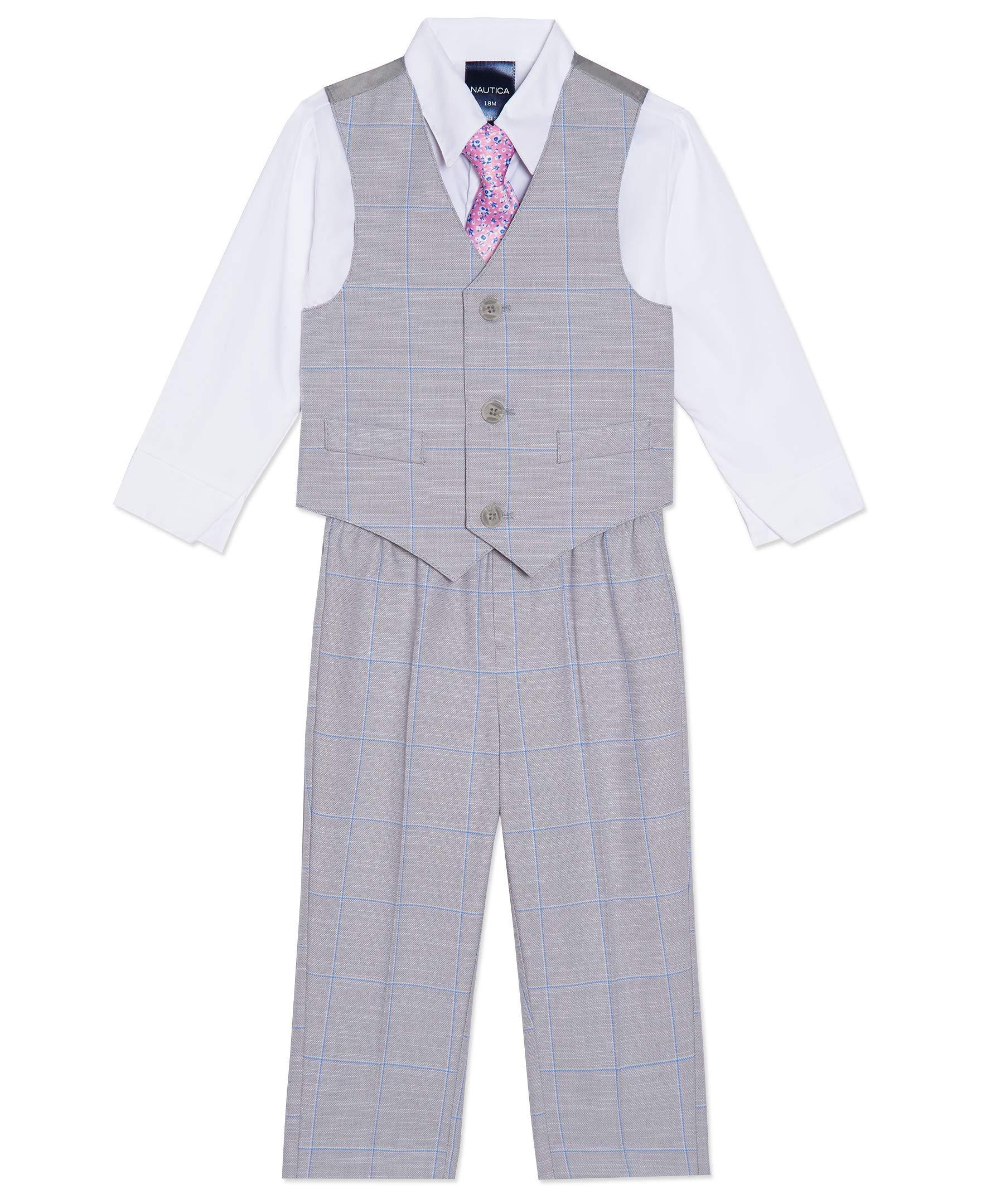 Nautica Baby Boys 4-Piece Set with Dress Shirt, Vest, Pants, and Tie
