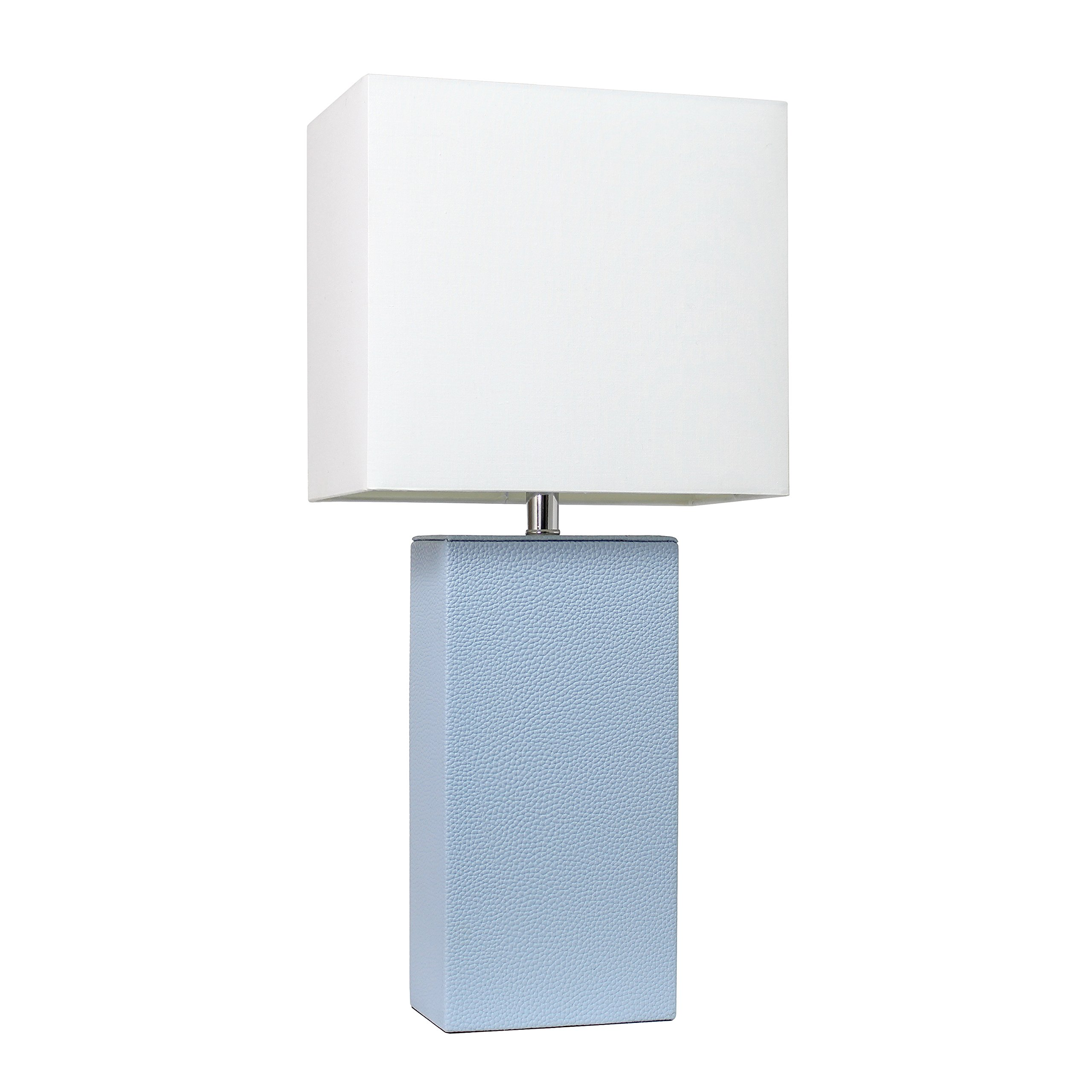 Elegant Designs LT1025-PWK Modern Leather Table Lamp with White Fabric Shade, Periwinkle