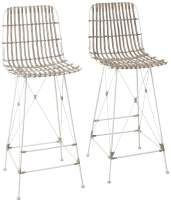 Safavieh Home Collection Minerva White Rattan 30-inch Bar Stool (Set of 2)