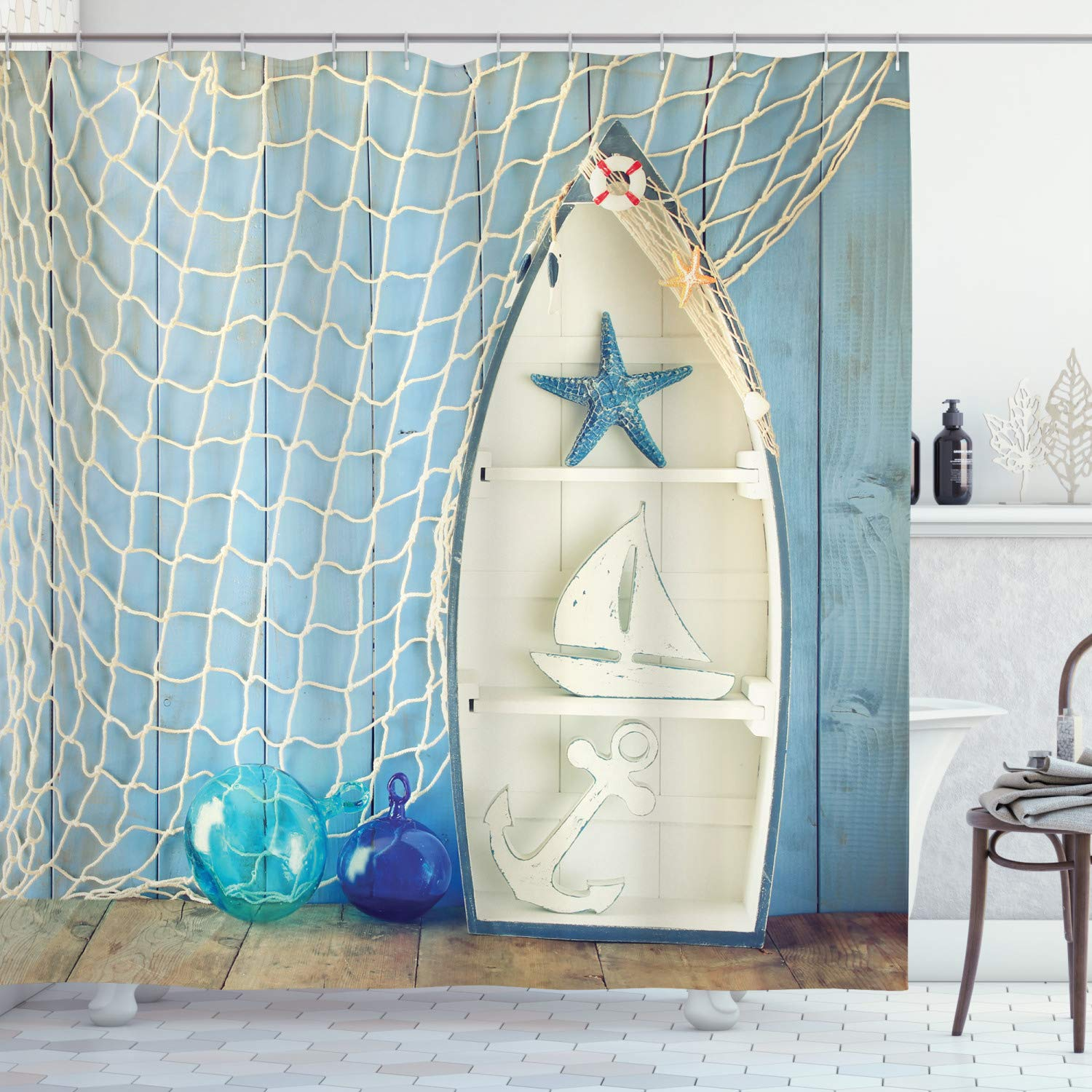 Ambesonne Nautical Shower Curtain Sea Objects On Wooden Backdrop With Vintage Boat Starfish Shell Fishing Net Photo Cloth Fabric Bathroom Decor Set With Hooks 75 Long Blue Cream