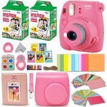 Fujifilm Instax Mini 9 Instant Camera FLAMINGO PINK + Fuji INSTAX Film (40 Sheets) + Accessories Kit Bundle + Custom Case with Strap + Assorted Frames + Photo Album + 60 Colorful Sticker Frames + MORE