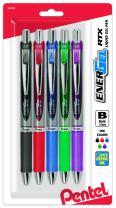 Pentel Gel Ink Pen, Retractable Gel Pen, Bold Point, Metal Tip, Assorted Ink Colors Pack of 5 (BL80BP5M)