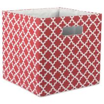 """DII Hard Sided Collapsible Fabric Storage Container for Nursery, Offices, & Home Organization, (13x13x13"""") - Lattice Rust"""