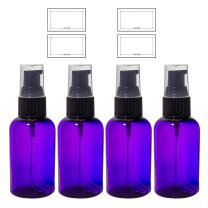 Purple 2 oz Boston Round PET (BPA Free) Plastic Bottle with Treatment Pump (4 Pack) + Labels