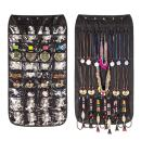 Hanging Jewelry Organizer, Dual Sided Closet Organizers, Earrings Bracelet Necklace Socks Pantyhose Storage Display Bag (Black (40 Pockets & 20 Hook-and-Loop Tabs))