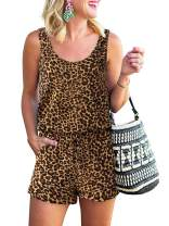 ANRABESS Women Summer Casual Sleeveless Leopard Print Jumpsuits Rompers Beam Foot Elastic Waist Short Jumpsuits Loungewear