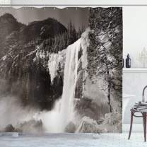 """Ambesonne Yosemite Shower Curtain, Waterfalls in Yosemite National Park in California Monochromic Old Picture Print, Cloth Fabric Bathroom Decor Set with Hooks, 75"""" Long, White and Black"""