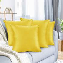 """Nestl Bedding Throw Pillow Cover 24"""" x 24"""" Soft Square Decorative Throw Pillow Covers Cozy Velvet Cushion Case for Sofa Couch Bedroom, Set of 4, Yellow"""