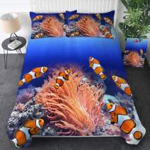 Sleepwish 3D Ocean Bedding Underwater Clownfish Duvet Cover Marine Bed Spread 3 Pieces Blue Deep Sea Bedding for Adult Kids (King)