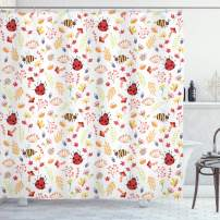 """Ambesonne Bee Shower Curtain, Autumn Themed Doodle Pattern with Bugs Plants Herbs Flower Mushroom in The Forest, Cloth Fabric Bathroom Decor Set with Hooks, 70"""" Long, White Red"""
