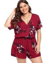 ROMWE Women's Plus Floral Summer Boho Deep V Neck Short Sleeve Romper Jumpsuit Playsuit