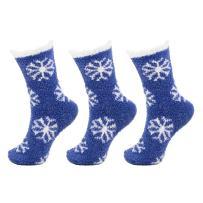 Soft Warm Cozy Fuzzy Snowflake Socks - 3prs