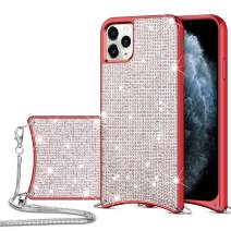 HoneyAKE for iPhone 11 Pro Max Case Glitter Bling Diamond Rhinestone Durable Hybrid TPU Bumper Hard Anti-Slip Back Cover with Crossbody Chain Strap Protective Cover for iPhone 11 Pro Max Red