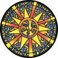 TIRE COVER CENTRAL Stained Glass Sun Spare Tire Cover for 255/75R17 fits Camper, Jeep, rv, Trailer, etc(Drop Down Size menu