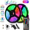 Led Strip Lights Kit,32.8ft Waterproof Flexible Tape Light,Color Changing 5050 RGB 300LEDs Light Strip Rope Lights with Timing Function,for Party,Bar,Home Decoration,with IR Remote