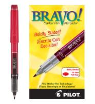 PILOT Bravo Liquid Ink Marker Pens, Bold Point, Red Ink, 12 Count (11036)