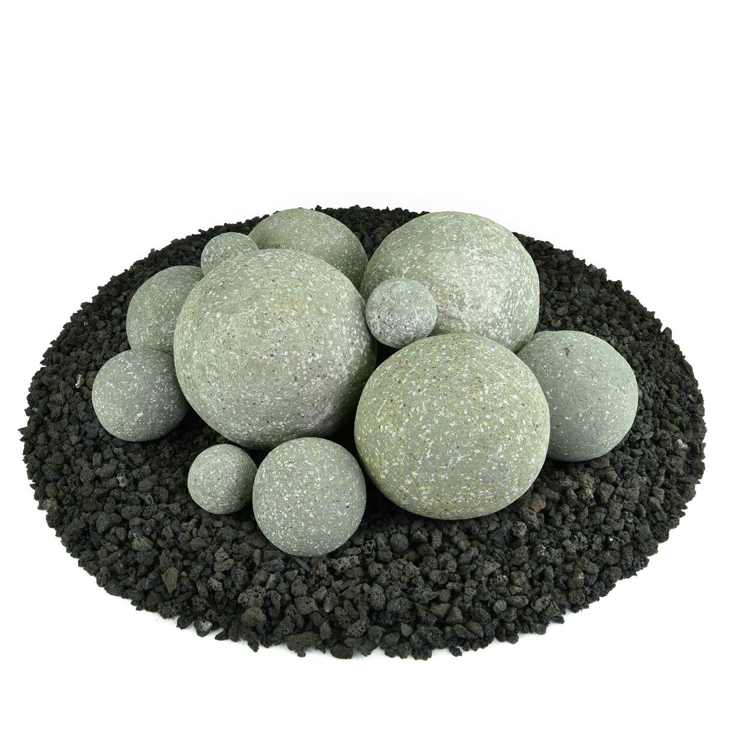 Ceramic Fire Balls   Mixed Set of 13   Modern Accessory for Indoor and Outdoor Fire Pits or Fireplaces – Brushed Concrete Look   Pewter Gray, Speckled