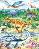 Larsen Puzzles Dinosaur Children's Educational Jigsaw Puzzle - 35 Piece Tray & Frame Style Puzzle - Exclusive Premium Hand Made Puzzles - Imported from Norway