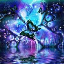 Butterfly Diamond Painting by Number, 5D DIY Painting Crystal Art Kits for Adults Kids