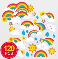 Baker Ross Self-Adhesive Foam Rainbow Decoration Stickers (Pack of 120) Fun Arts and Crafts Project with No Glue or Scissors Needed