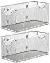 YBM HOME Household Wire Mesh Open Bin Shelf Storage Basket Organizer for Kitchen, Cabinet, Fruits, Vegetables, Pantry Items Toys 1118s-2 (2, 11 x 5.1 x 5)