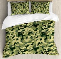 Ambesonne Camouflage Duvet Cover Set, Clothing Motif with Pale Toned Color Splashes Abstract Patterned Illustration, Decorative 3 Piece Bedding Set with 2 Pillow Shams, Queen Size, Yellow Green