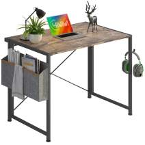 """4NM 35.4"""" Small Desk with Storage Bag and 2-Hook No-Assembly Folding Computer Desk Home Office Desk Laptop Study Writing Table - Rustic Brown and Black"""