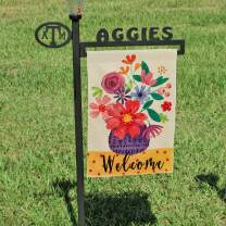 DOLOPL Welcome Garden Flag 12.5x18 Inch Double Sided Verticle Decorative Watercolor Flowers Vase Seasonal Yard House Flag for Spring Summer Outdoor Indoor Decoration