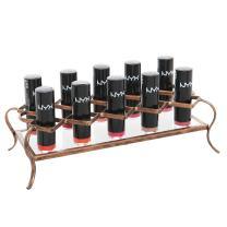 MyGift Vintage 10-Slot Rose Gold-Tone Metal & Acrylic Lipstick Holder, Makeup Organizer
