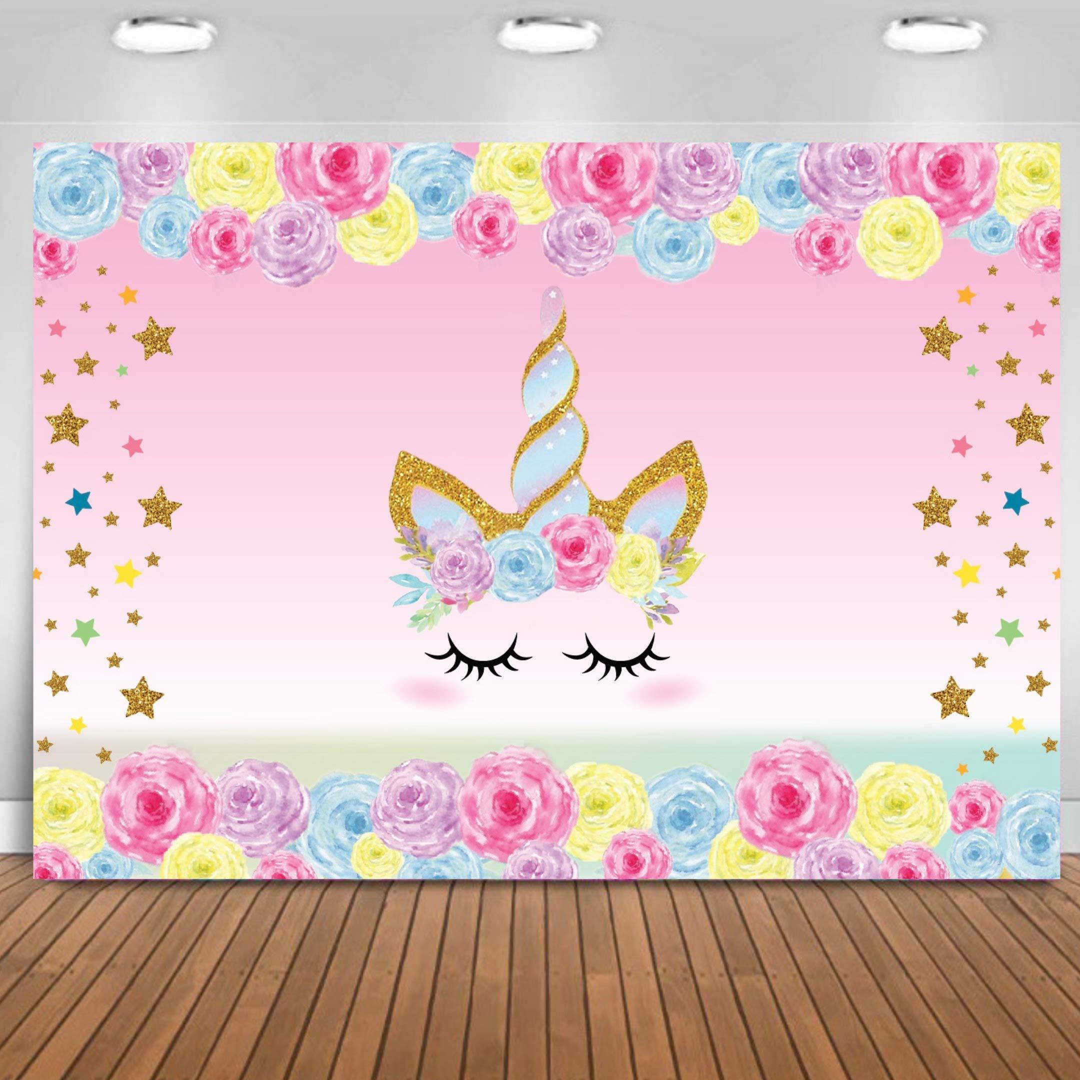 Unicorn Backdrop Birthday 3x5 ft Unicorn Photography Background for Girls Birthday Party, Rainbow Floral Backdrop Unicorn Party Supplies Studio