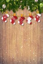 AOFOTO 3x5ft Christmas Backdrops Xmas Stockings Photo Shoot Background Snowflake Wood Wall Photography Studio Props Newborn Infant Baby Children Artistic Portrait Decor Digital Video Drop