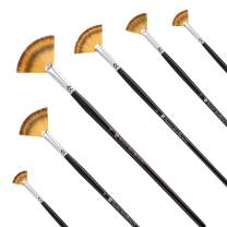 Fan Paint Brush Set-Artist Soft Anti-Shedding Nylon Hair, Wood Long Handle Paint Brushes for Oil Acrylic Watercolor Painting 6 Pcs