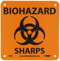 "NMC S90R Warning Sign, Legend ""BIOHAZARD SHARPS"" with Graphic, 7"" Length x 7"" Height, Rigid Plastic, Black on Orange"