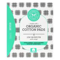 The Honest Company Organic Cotton Pads   Regular   Hypoallergenic Pads with Wings   Ultra-Soft & Ultra-Thin   PH Compatible   Breathable   Plant-Based with Organic Cotton  10 Count