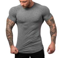 URRU Men's Quick Dry Workout T-Shirts Compression Athletic Baselayer Tee Gym Training Tops S-XXL