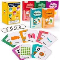 130 Flash Cards for Toddlers, ABC Alphabet, Numbers, Colors & Shapes, First Words, Animals Preschool Flashcards with Rings for Kindergarten Homeschool Supplies Educational Learning Toy Kids 2-4 Years