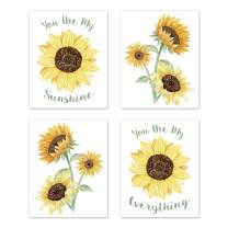 Sweet Jojo Designs Yellow, Green and White Sunflower Boho Floral Wall Art Prints Room Decor for Baby, Nursery, and Kids - Set of 4 - Farmhouse Watercolor Flower, You are My Sunshine