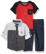U.S. Polo Assn. Baby Boy's Long Sleeve Woven Shirt, Color Blocked Henley, and Jean Set Pants