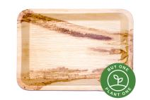 "14"" Rectangle Palm Leaf Serving Trays Platters - Pack of 5 - Disposable, Compostable, Natural, Tree Free, Sustainable, Eco-Friendly - Fancy Rustic Party Dinnerware and Utensils Like Wood, Bamboo"