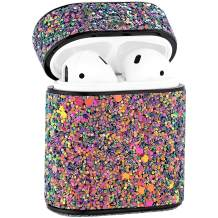 Doweiss Compatible for AirPods 1 & 2 Cases Cover Glitter,Sparkle Shiny Bling Headphone Protective Cases Luxury for Girl/Women (Colorful Purple)